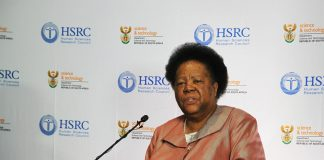 Minister of Science and Technology Naledi Pandor at the launch of two national surveys on R&D and IP last week.