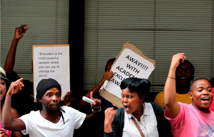 Students not yet registered and who were part of the protests had been charged with criminal behaviour