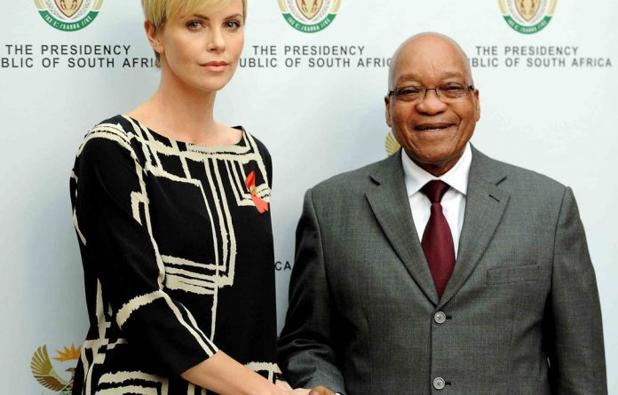Charlize Theron met with President Jacob Zuma on Monday.
