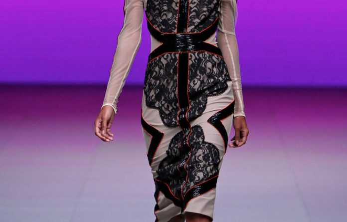 A Gavin Rajah design at this year's Mercedes Benz Fashion Week Cape Town at the International Convention Centre.