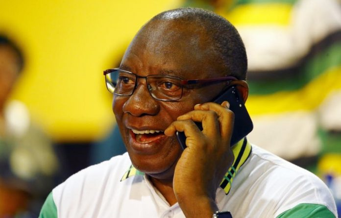 New ANC President Cyril Ramaphosa shortly after hearing he'd been elected to the top job.