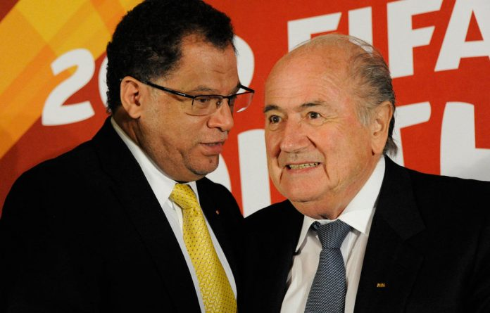 Sepp Blatter and Danny Jordaan during a media briefing at Southern Sun Hotel on May 21 2011 in Johannesburg.