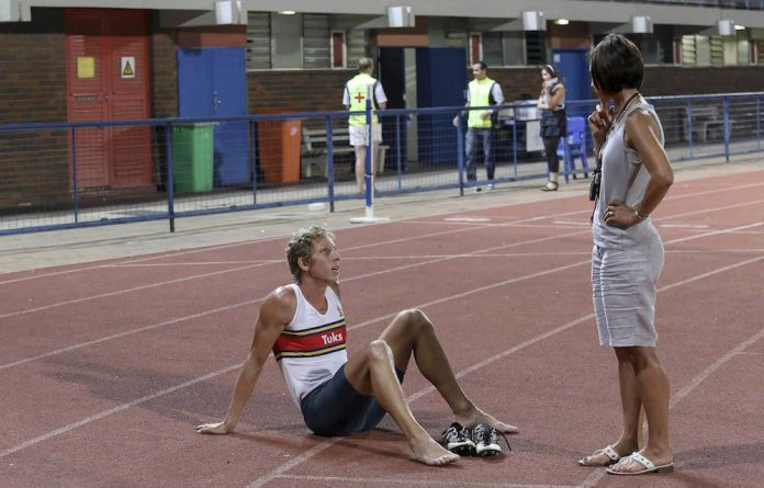Caring coach: Irma Reyneke with hurdler Le Roux Hamman.