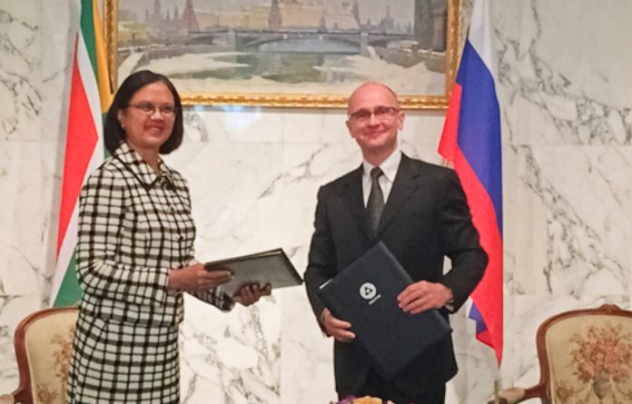 Energy Minister Tina Joemat-Pettersson and Rosatom director general Sergey Kirienko signed an intergovernmental agreement on nuclear energy in September last year.