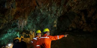 Soldiers and rescue workers work in Tham Luang cave complex in the northern province of Chiang Rai