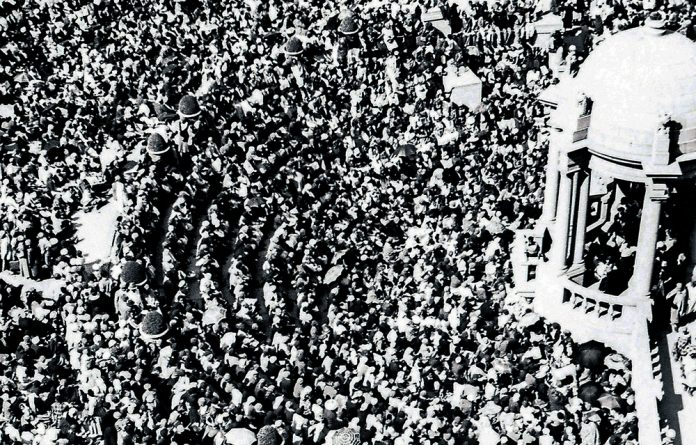 The crowd at the Union Buildings on August 9 1956. About 20 000 women marched to Pretoria to protest against passes for black women.