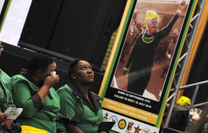 ANC Women's League members weep during the funeral of Khanyisile Ngobese-Sibisi.