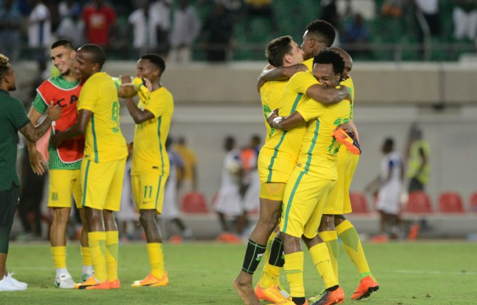 Bafana players celebrate after the game during the 2019 Africa Cup of Nations Qualifying match between Nigeria and South Africa.