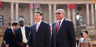 China's President Xi Jinping with President Jacob Zuma ahead of the fifth Brics summit.