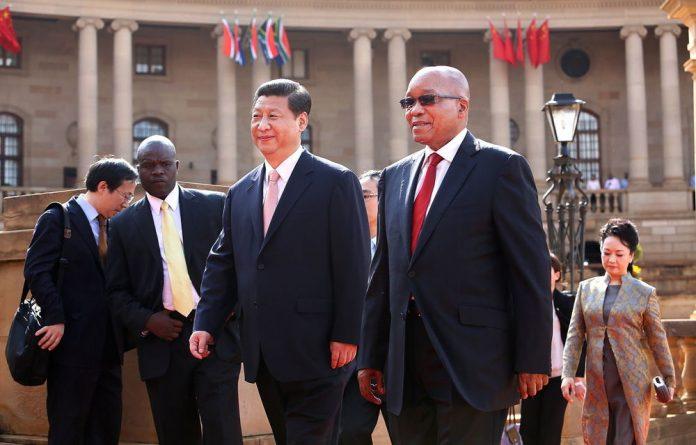 China's President Xi Jinping with President Jacob Zuma ahead of the fifth Brics summit.