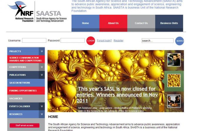 A screenshot of South African Agency for Science and Technology Advancement's website taken on July 10 2013.