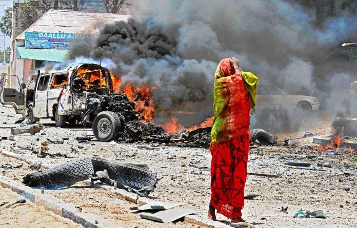 Devastation: In one of the bloodiest attacks in war-ravaged Mogadishu recently