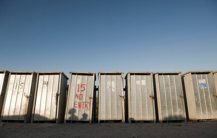 A row of flushing toilets in BM Section of Khayelitsha