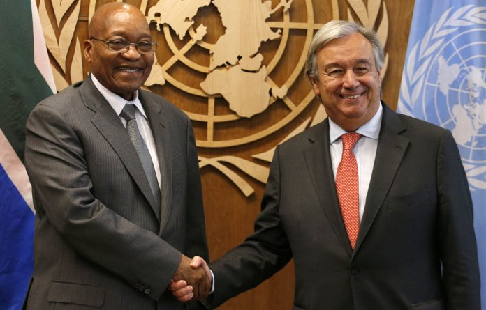 President Jacob Zuma shakes hands with United Nations Secretary General Antonio Guterres prior to their meeting at U.N. headquarters in New York.