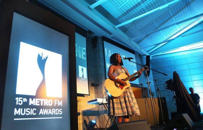 Zahara performing at the Metro FM award nominations event.