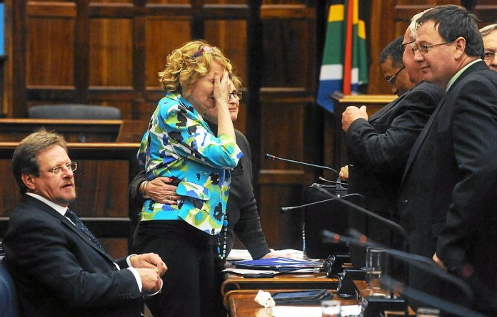Helen Zille gets worked up after a heated debate on a report released by the Commission for Employment Equity.