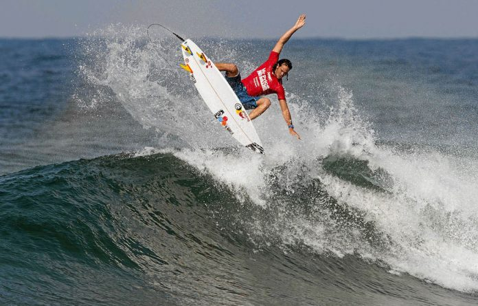 Jordy Smith gets airborne at the Mr Price Pro event in Ballito.