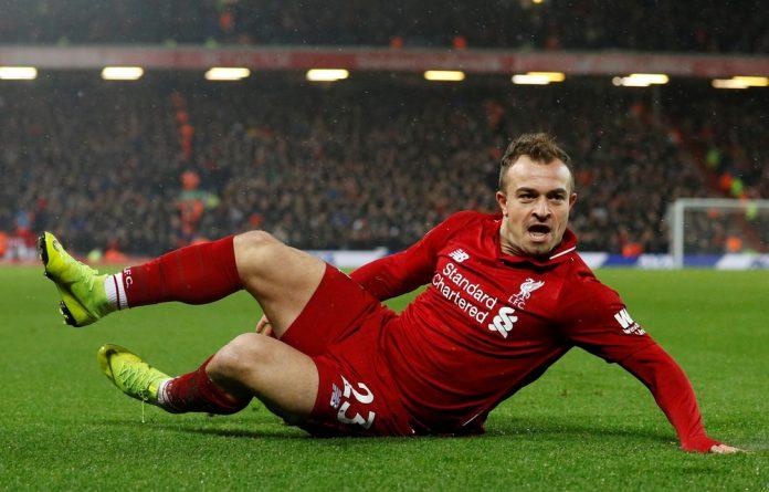 Liverpool's Xherdan Shaqiri celebrates scoring their second goal