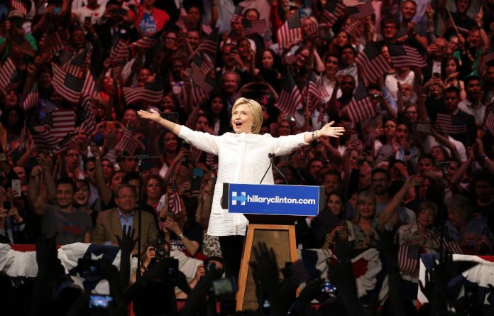 Hillary Clinton celebrates her victory on Tuesday.