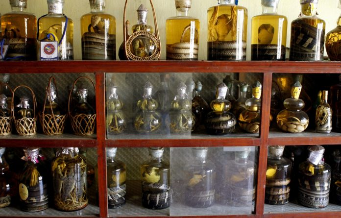 Snake wine bottles are displayed for sale at a snake shop.