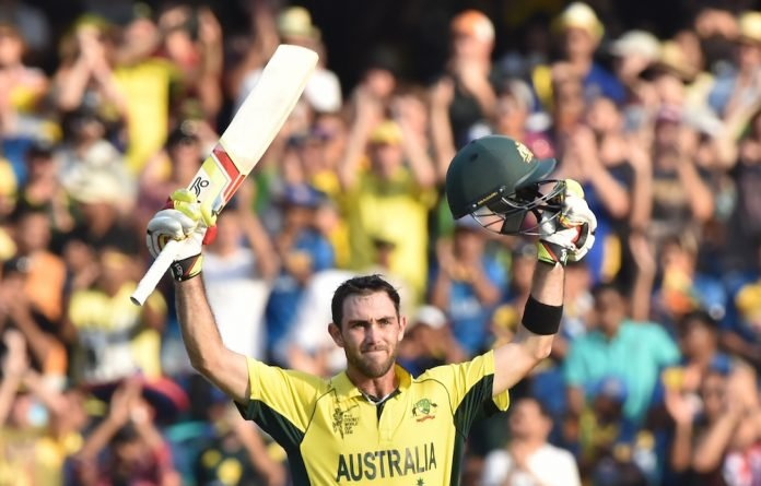 Glenn Maxwell celebrates his century during the 2015 Cricket World Cup
