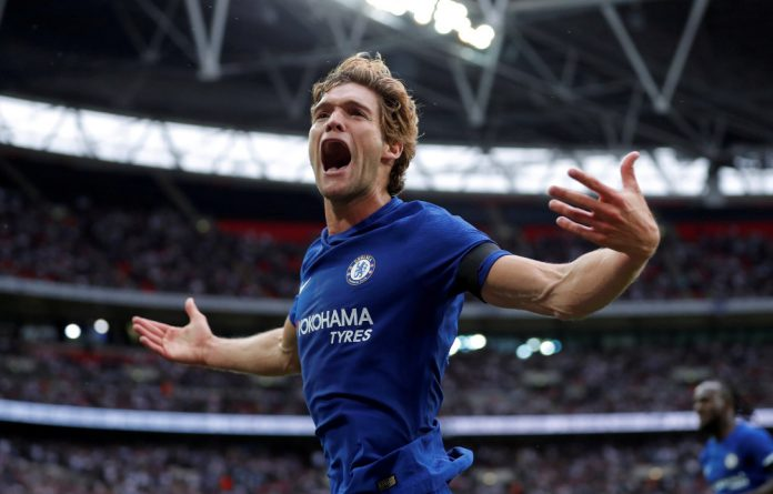 Marcus Alonso grabbed both Chelsea goals in the first-ever Premier League game at Wembley.