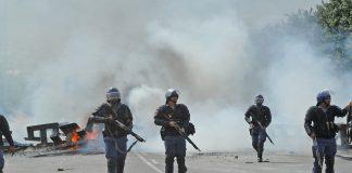 Public Order Police shoot rubber bullets