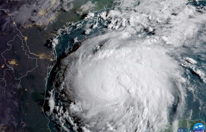 Hurricane Harvey is seen in the Texas Gulf Coast in this NOAA GOES satellite image.