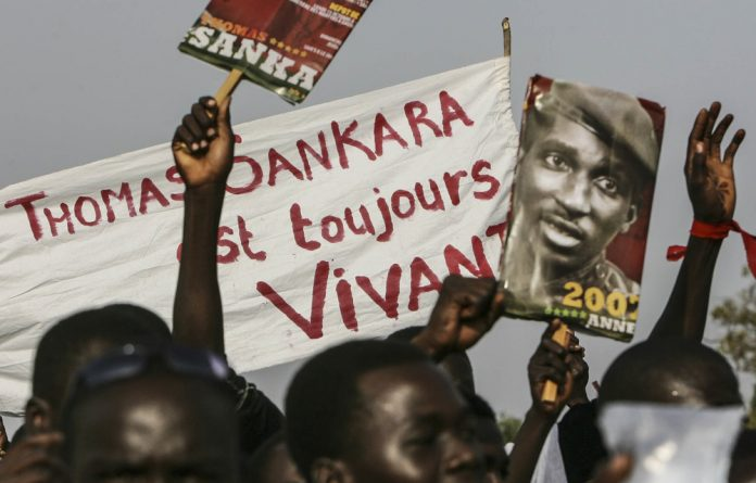 Supporters in Ouagadougou of Thomas Sankara commemorate the 20th anniversary of his assassination.