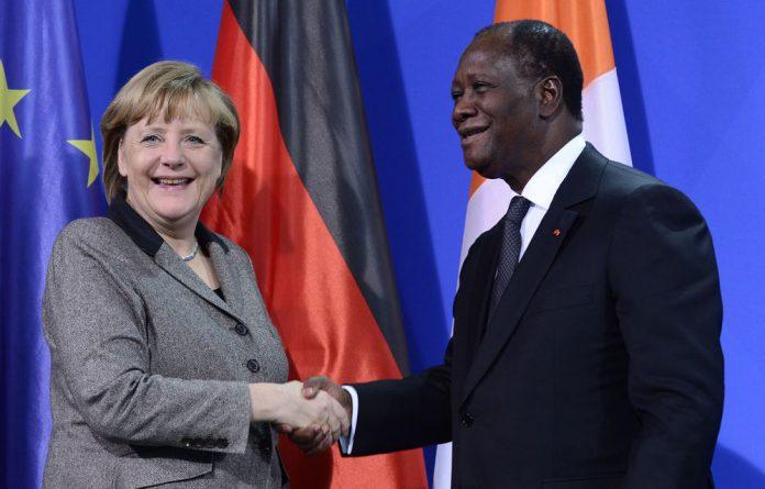 Chancellor Angela Merkel has set to discuss the German commitment with Cote d'Ivoire's President Alassane Ouattara.