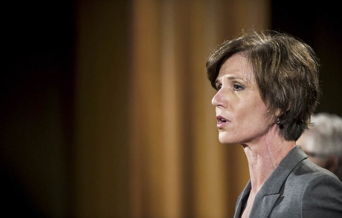 Then deputy attorney general Sally Yates speaks during a press conference at the department of justice on June 28 2016 in Washington