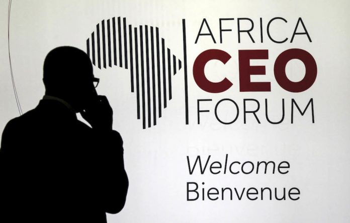 A man's world: At a women's panel discussion during the Africa CEO Forum in Switzerland last month