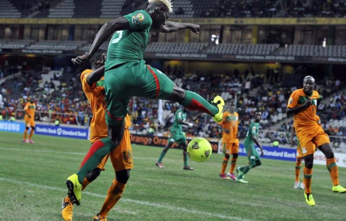 Burkina Faso striker Aristide Bance in the match against Zambia.