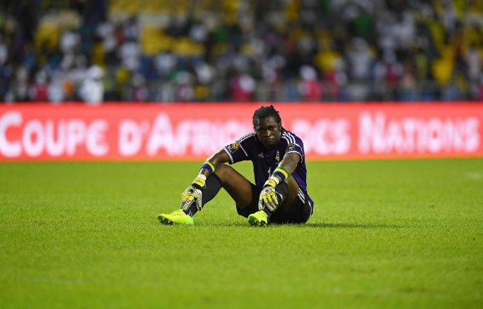 Gabon's goalkeeper Didier Ovono reacts at the end of the 2017 Africa Cup of Nations group A football match between Cameroon and Gabon.