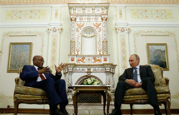 Jacob Zuma and Vladimir Putin.