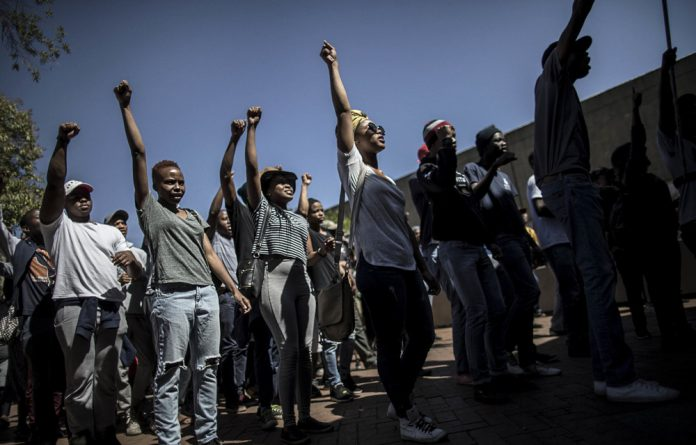 Amandla! Ngawethu: During the #FeesMustFall protests Wits students continued the protest tradition of call and response struggle songs