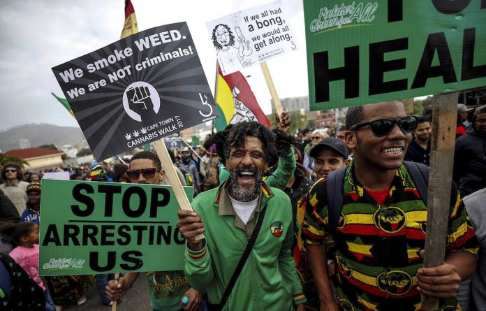 Weed out arrests: Demonstrators in Cape Town march for the legalisation of dagga.