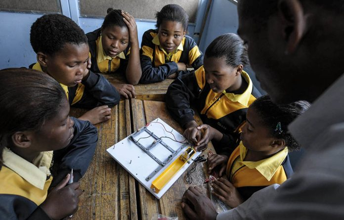 Science pupils at Zimasa Primary School in Langa