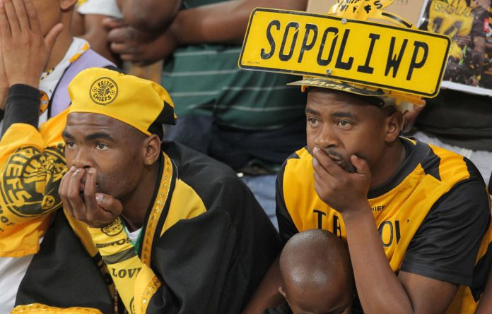 Dejected fans during the Absa Premiership match between Ajax Cape Town and Kaizer Chiefs at Cape Town Stadium.