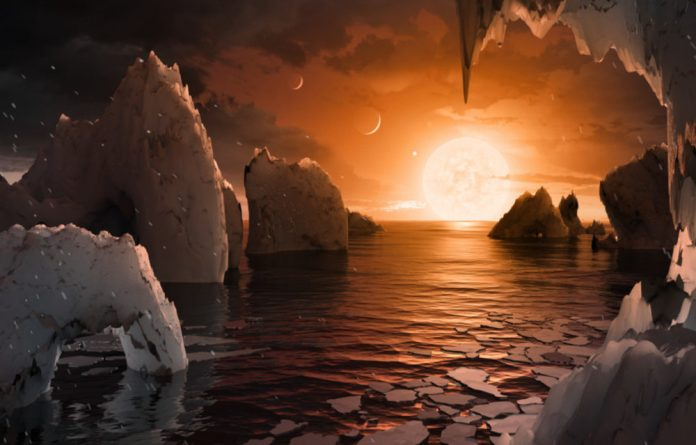 An artists's impression of the possible surface of TRAPPIST-1f.