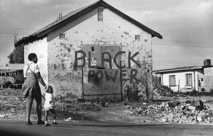 Black power sign in Dube Township