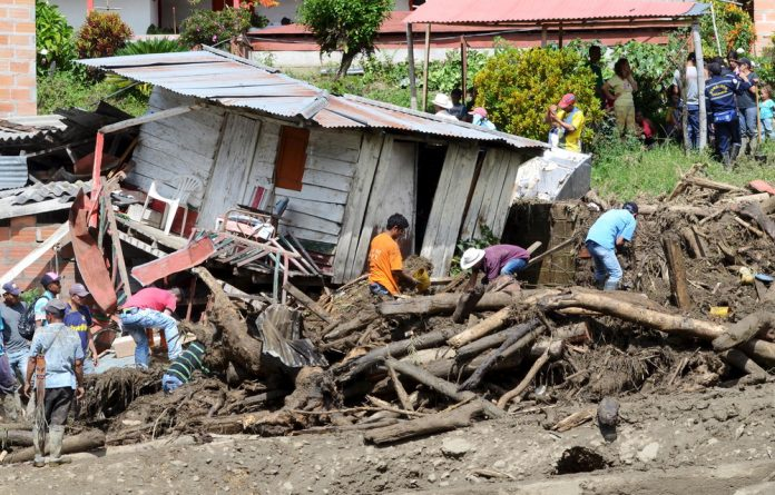 A landslide has devastated entire homes in Colombia.