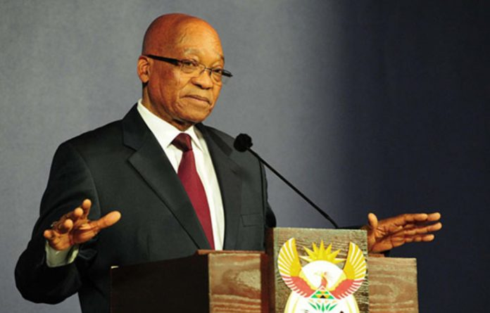 Jacob Zuma visits the business exhibitors' centre during the ANC's conference at Mangaung in 2012.