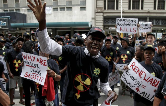 Come clean: Activists in Durban protest against the use of nuclear power. With the court ruling