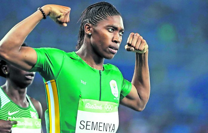 A victorious Caster Semenya at the Rio Olympics.