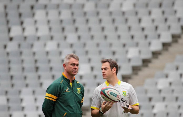 Planning ahead: Coach Heyneke Meyer and assistant coach Johann van Graan have been prevented from selecting their dream World Cup team because of injury among the players.