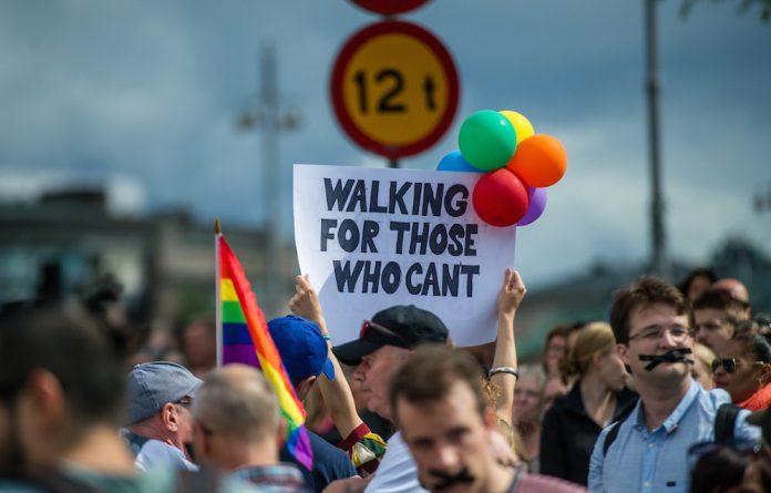 Purposeful pride: People participating in Swedish Pride in Stockholm.