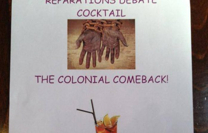 poster advertising a debate on reparations and a Colonial Comeback cocktail special.