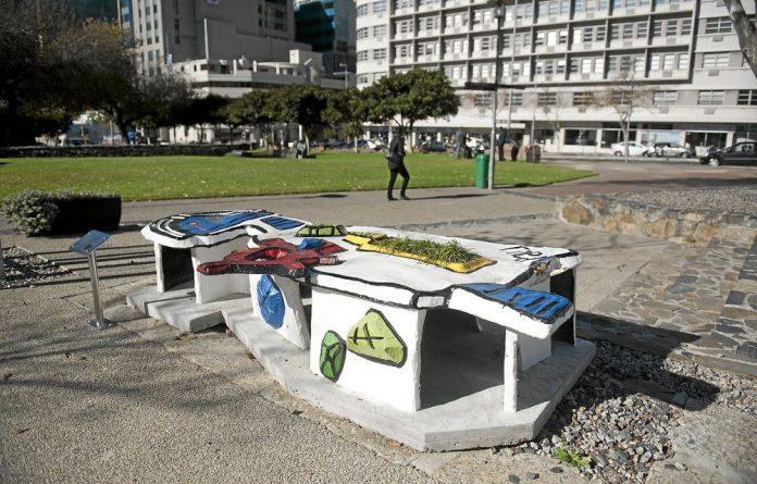 Seat of power: A Rock Girl bench on the fan walk in Cape Town.