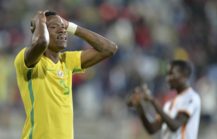 Easy target: A disappointed Thami Gabuza during a friendly against Zambia in June. Veteran Phil Masinga had words of encouragement for the much-maligned striker.